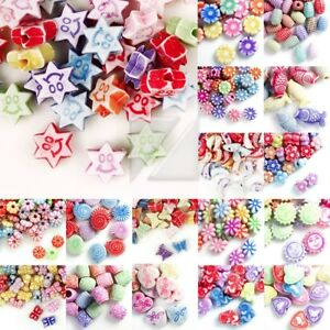30g-Acrylic-Beads-Jewelry-Flower-Animal-Star-Butterfly-Tube-Cube-Oval-Round-IW