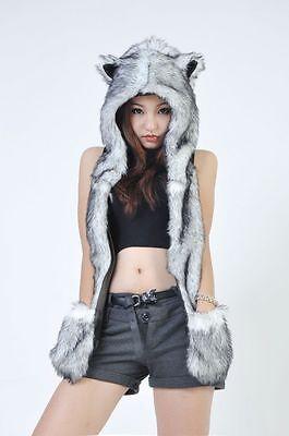 Unisex  Faux Fur HUSKY Animal Hood Hoodie Hat 3 in 1 Scarf Pocket Cap Warm Gift
