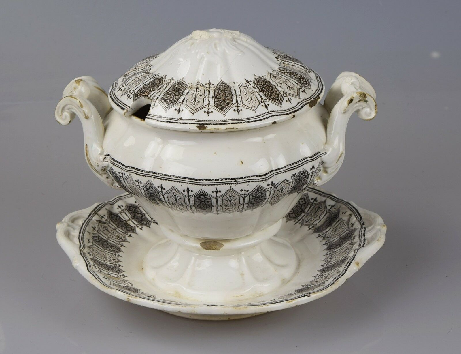 Terrine soupière porcelaine tureen Gardner Russie Moscou 19 on a