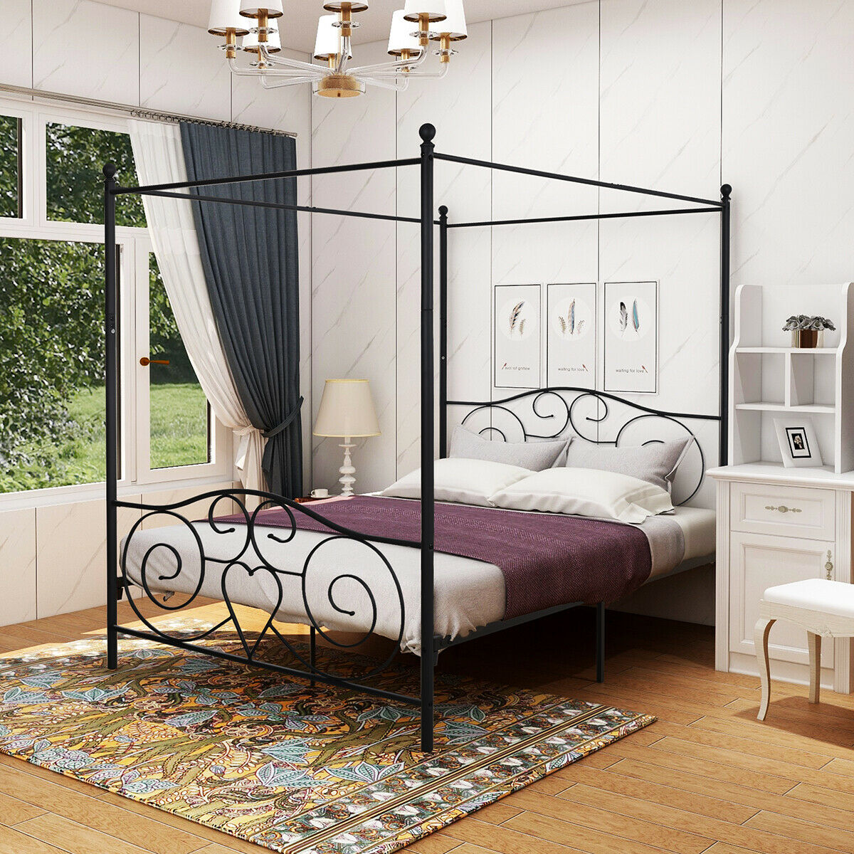 Canopy Bed Frame TWIN/FULL/QUEEN Size Metal Platform Princess Girls Kids  Adult