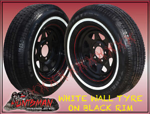 14-BLACK-STEEL-CARAVAN-TRAILER-SUNRAYSIA-WHEEL-WITH-WHITE-WALL-TYRES-195-75-14