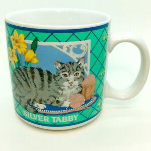 CAT-LOVER-Silver-Tabby-Coffee-Mug-GANZ-Mugz-Kitty-Pet-Yarn-Flowers