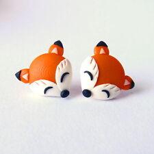 Funny Handmade Garden Party Orange Fox Animal Earrings Children Girls Gift Idea