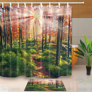 Details About Woodland Decor Sunshine Into Forest Bathroom Fabric Shower Curtain Set With Hook