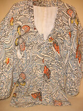 White & Brown Jacquard Print Ladies Kimono Style Jacket with Butterfly Accents