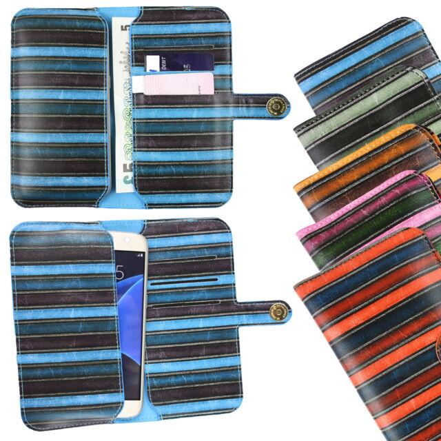 Vintage Rayas Funda de piel sintética Funda Soporte para Motorola Teléfono