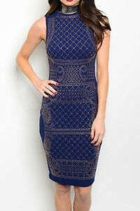 Womens-Xtaren-Navy-Studded-Rhinestone-Sleeveless-Casual-Bodycon-Dress-S-L