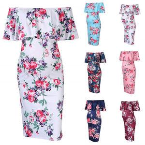 Maternity-Pregnant-Floral-Ruffle-Off-Shoulder-Bodycon-Stretch-Pencil-Short-Dress