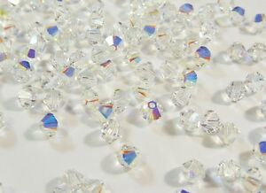 40-CRYSTAL-AB-4mm-SWAROVSKI-KRISTALL-PERLEN-5301-5328-DOPPELKEGEL-NEW-BEADS