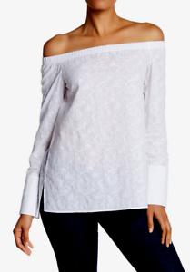 Lafayette 148 Woherren Embroiderot Weiß Blouse 10214 Größe Small