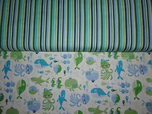 Whales Seahorse, Fish Cotton Material Kid Fabric Fat Quarter Beach Fabric Sharks Cotton Fabric By the yard