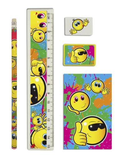 SMILEY FACE Stationery Set Unisexe Birthday Party Loot Sac Remplissage Faveurs Cadeau