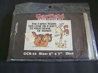 Vtg Garfield The Cat & Odie Millcraft 5 X 7 Cross Stitch Kit Nip Diet Theme
