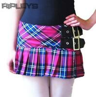 HELL BUNNY Pink TARTAN Mini Skirt CHELSEY Buckle All Sizes