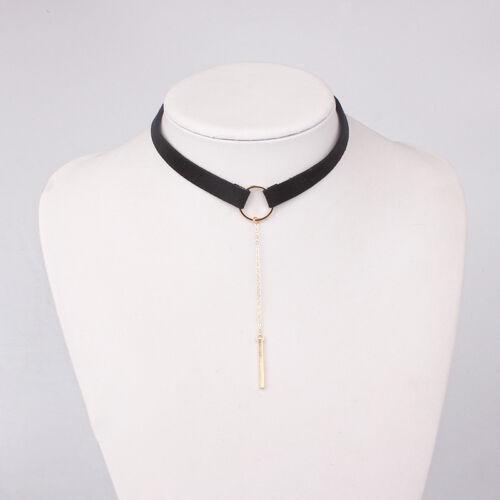 Stylish Gothic Black Velvet Lace Choker Chain Statement Bib Crystal Necklace
