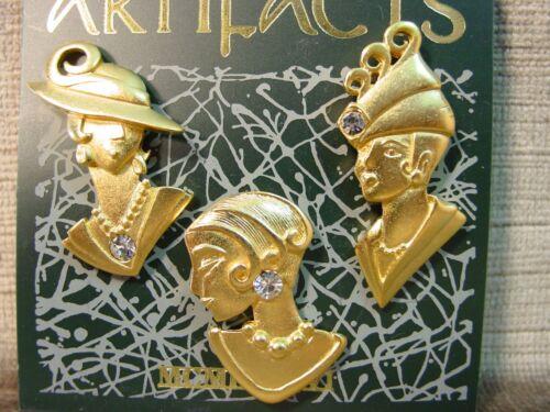 """/""""JJ/"""" Jonette Jewelry Set de trois or étain belles dames Tac Pins"""