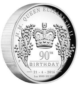 AUSTRALIA-2016-Queen-Elizabeth-II-90th-Birthday-1oz-Silver-High-Relief-1-Coin
