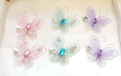 6 Femmes Filles Pinces à Cheveux Papillon Paillettes Été accessoires rose bleu violet