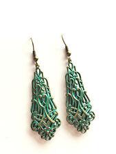 Long Green Filigree Earrings, Patina, Boho, Art Nouveau Style, Antique Gold
