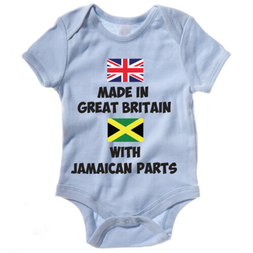 Vest Baby Grow Jamaica Body Suit MADE IN GREAT BRITAIN WITH JAMAICAN PARTS