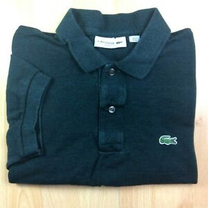 Lacoste-gros-5-vert-fonce-solide-a-manches-courtes-Polo-Shirt-Logo-Genuine