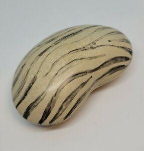 Handmade Soapstone African Carved Kidney Bean Shaped Trinket Box Dish Zebra