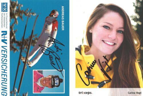 2 Autogramme Carina Vogt WM Andreas Bauer Bundestrainer Frauen Skispringen *