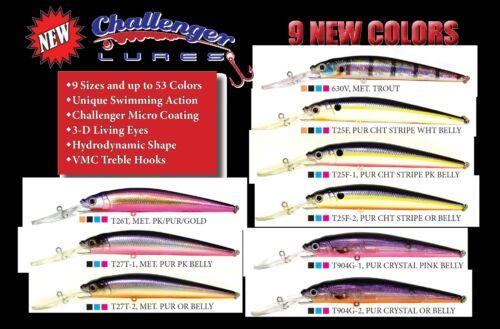"Challenger 4 1//2/"" Deep Minnow Dive 15/'-20/' Fishing Lure 904G-1 Purple Crystal UV"