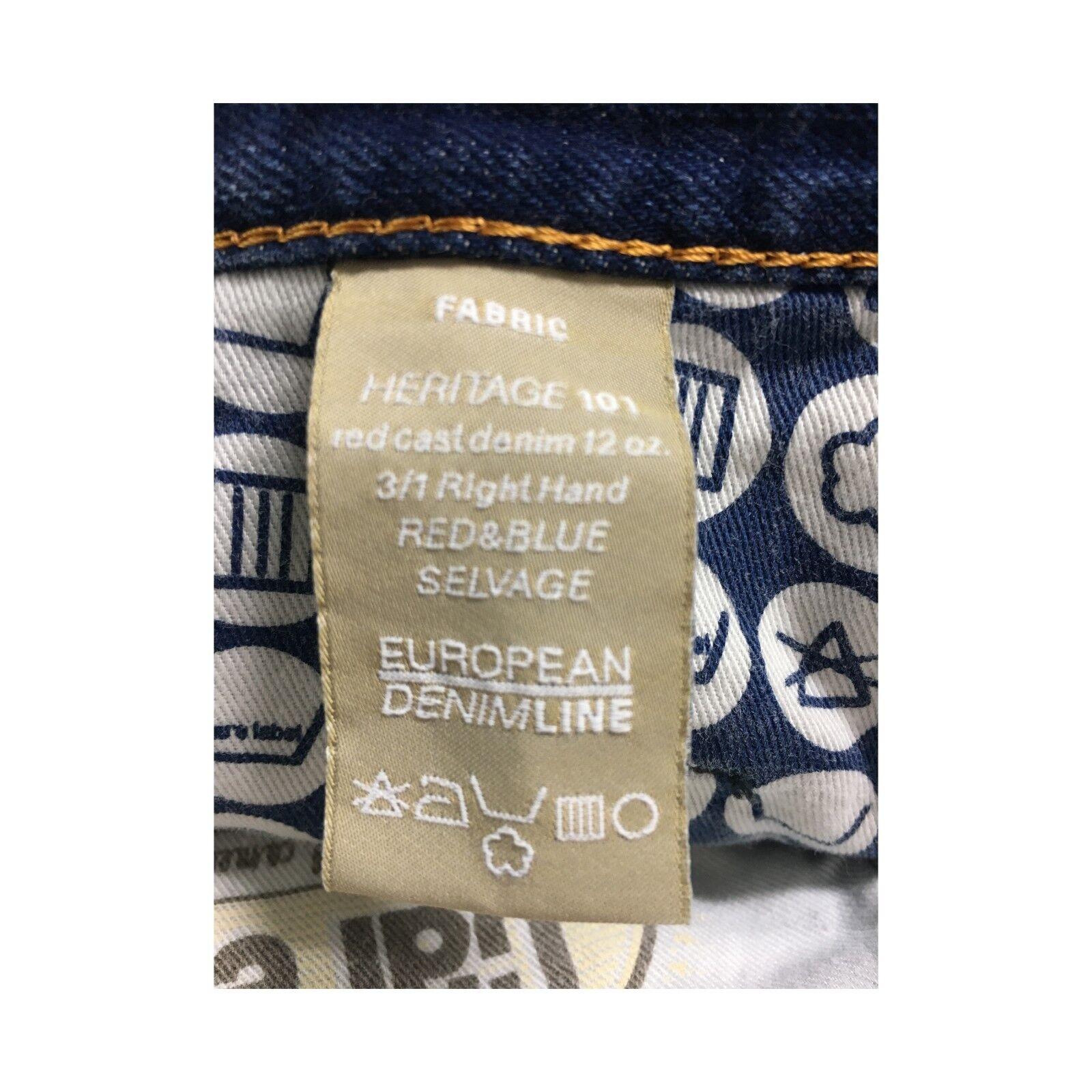 CARE LABEL jeans mod 402 HERITAGE 12 oz BLEU BLEU BLEU LINE 100% coton MADE IN ITALY 5f908c
