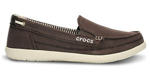 824bdd1d08d382 Image is loading Crocs-Walu-Canvas-Loafer-Espresso-Stucco