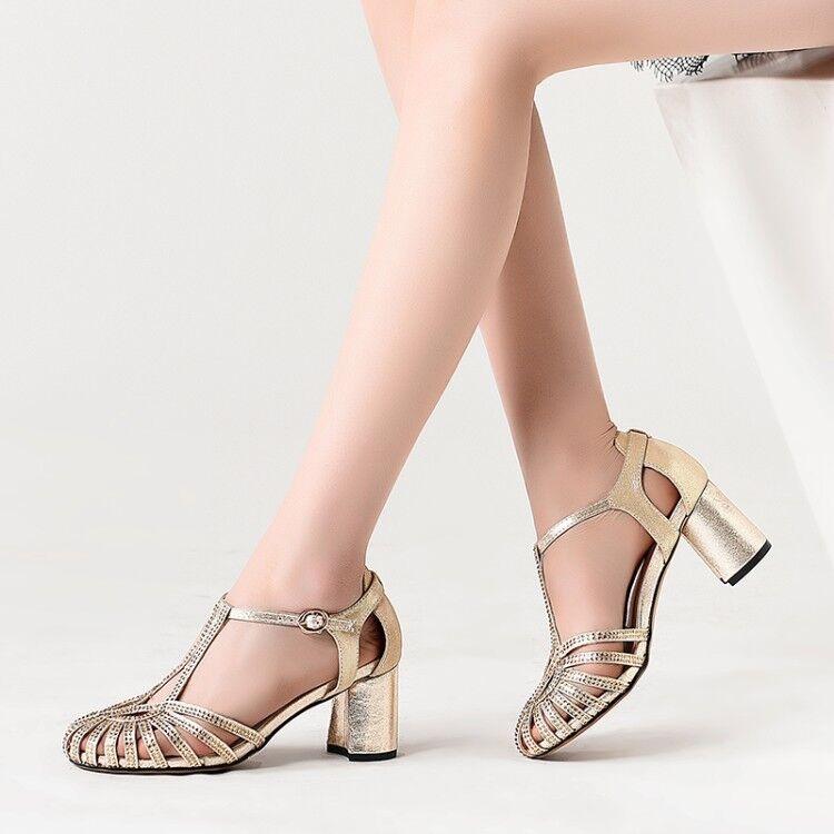 Femmes Cut Out Chunky Talon Bloc Femme Cheville Sangle glasiator Sandales Chaussures