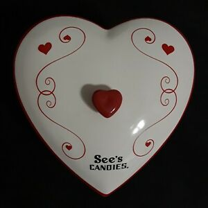 Valentine Heart couvert See's Candies Candy dish