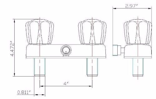 """4/"""" Shower Faucet RV Marine White with Smoke Handles Exposed Diverter"""