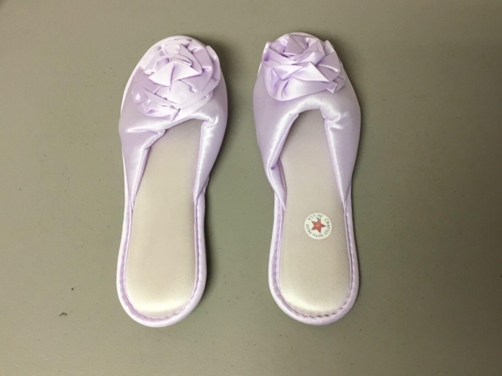 USA Nancy King Lingerie Washable Scuffs Bedroom Shoes XL 1 Pair Lilac #284L