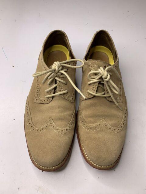 Cole Haan Lunargrand Wingtip Oxford Tan Suede Leather Mens Size 9 Dress Shoe