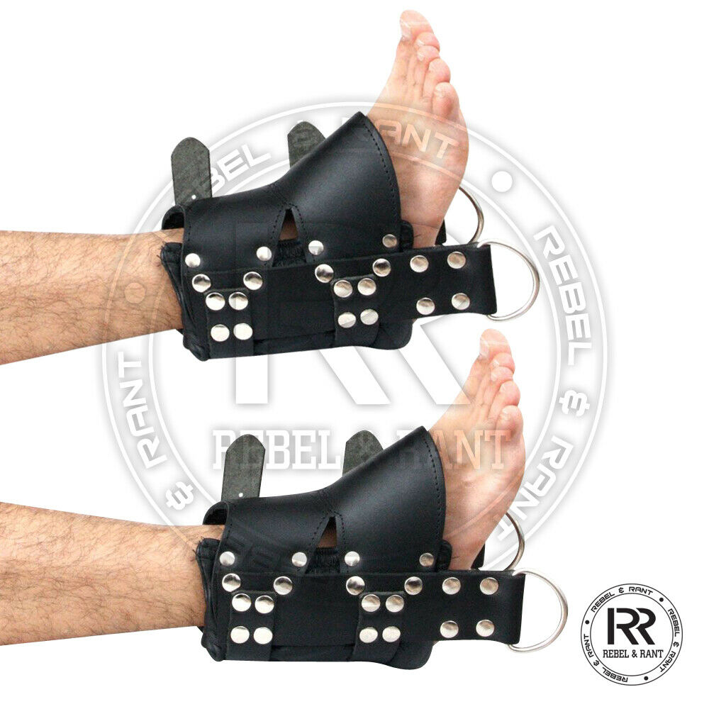 100% Real Leather Ankle Suspension Bondage Cuffs Strong Leather Padded Boot Cuff