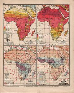 1935 Landkarte ~Afrika~ Temperatur Januar & Juli Rainfall Winds Isobars
