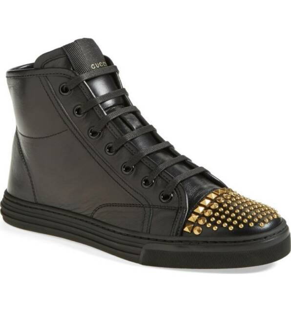 be6018eef5a $650 NEW GUCCI Women's California Studded Black Leather High Top Sneaker 41  / 11
