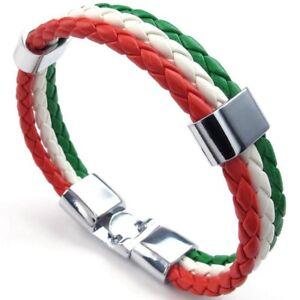 Jewelry-bracelet-Italian-flag-bangle-leather-alloy-for-men-039-s-women-gree-R6O0
