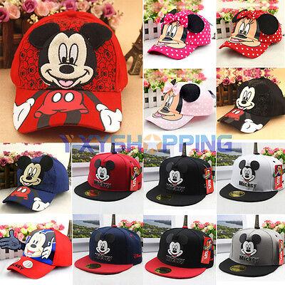 Unisex Kids Cartoon Minnie Mickey Adjustable Baseball Cap Snapback Hip-Hop Hats