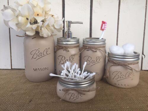 Mason Jar Bathroom Vanity Tan Shabby Chic Rustic Farmhouse