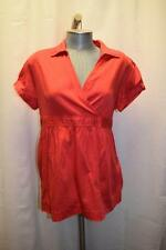 Motherhood Maternity Size L Large  Coral Red Pink Tie Back Baby Doll Blouse Top