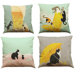 Retro-Cute-Cat-Sofa-Bed-Home-Decoration-Festival-Pillow-Case-Cushion-Cover-Throw