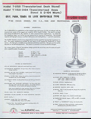 Astatic T-UG8-D104 Radio Microphone Dealer Sheet Info Specifications Schematic