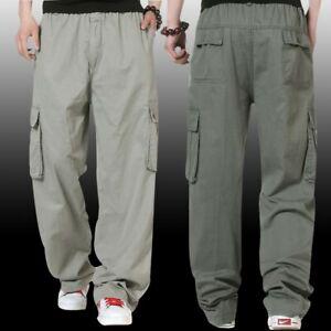 6461ee242 Men's Cargo Trousers Pants Elastic Waist pants Overalls Outdoor Army ...