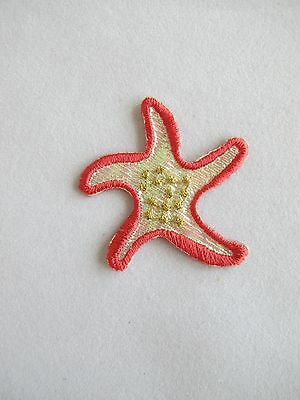 "#4218 1-1/2""x1-3/4"" Red Starfish Embroidery Iron On Applique Patch"
