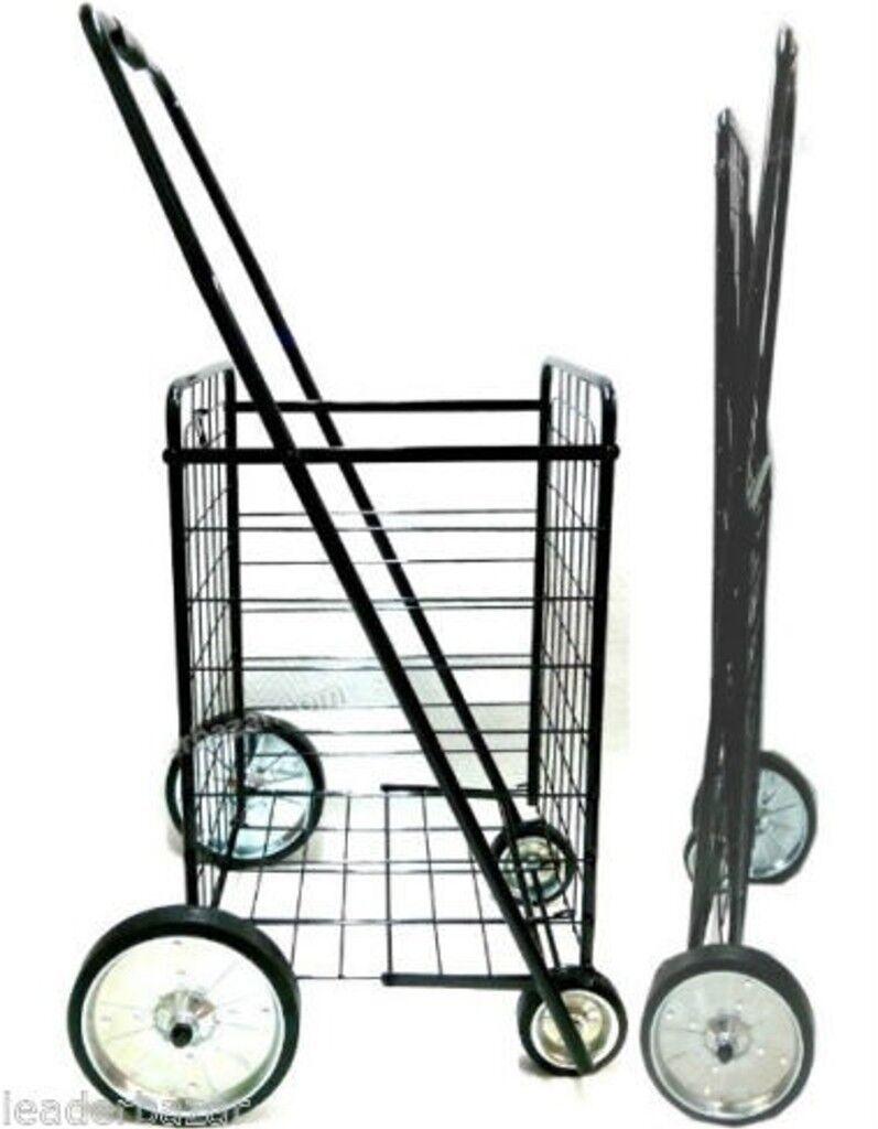 Chariot de courses   provisions 4 roues métal pliable