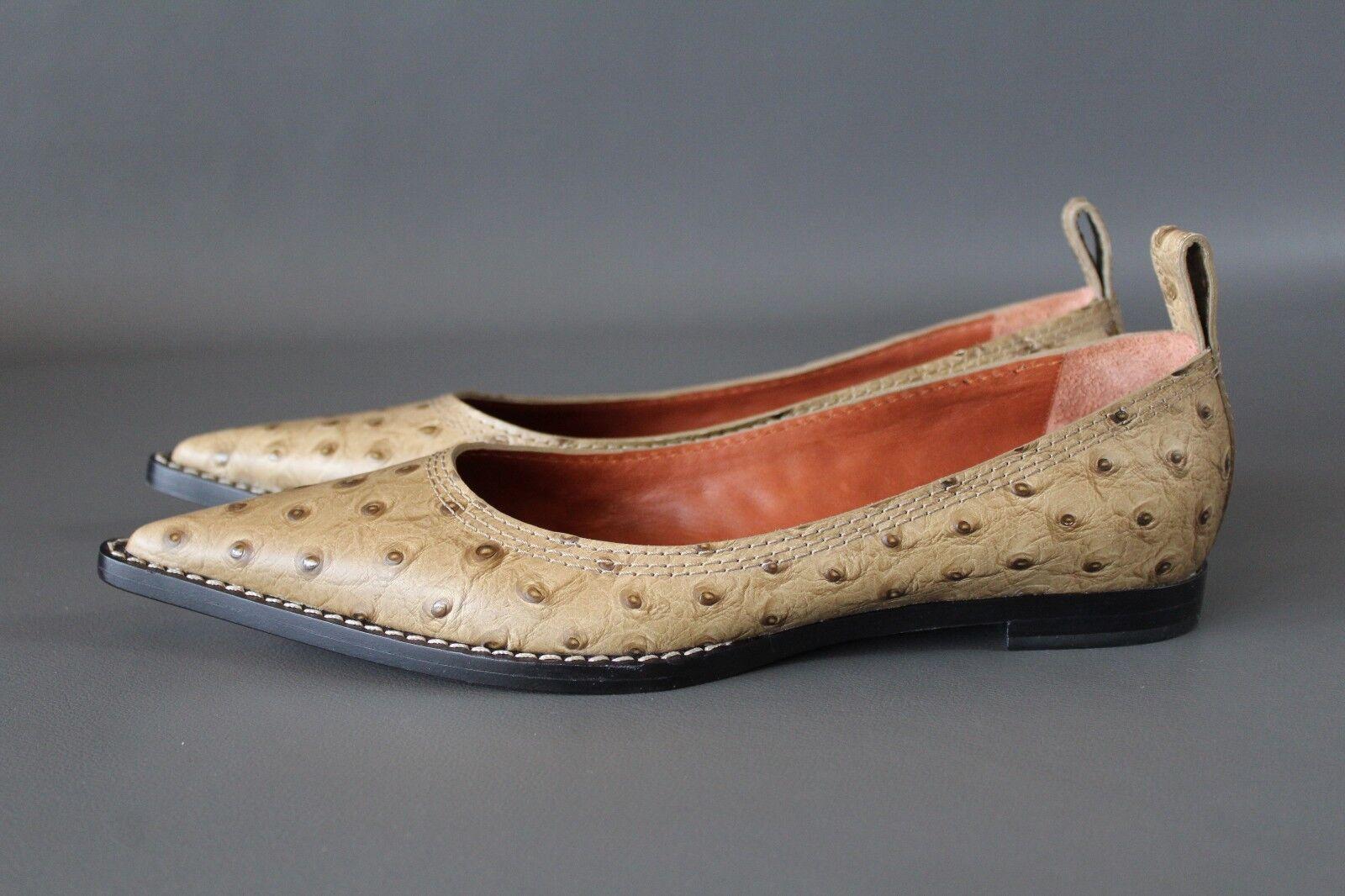 MISSONI Schuhes Damen Schuhe EUR 39.5 Ballerinas Beige Straussenleder Schuhes MISSONI  NEU 4847f0