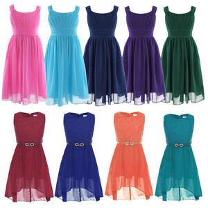 Pleated Turquoise Chiffon Girl Dress
