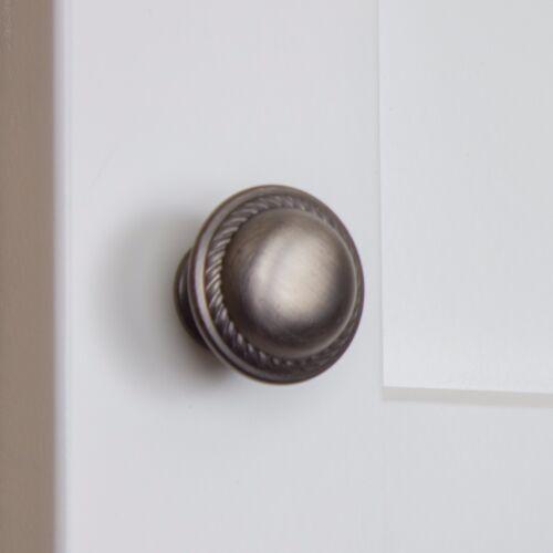 "GlideRite 1-1//8/"" Dia Round Rope Cabinet Drawer Knob Satin Pewter 81784-P-1"